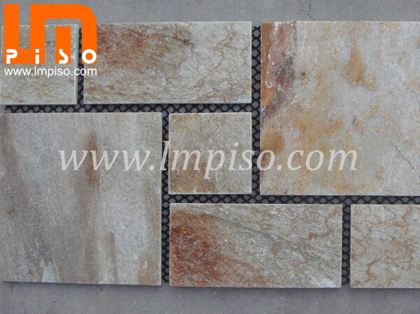 Mixed color slate paving stone