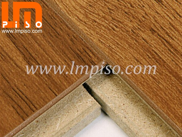Heavy traffic single clic oak wood color beveled v groove laminate flooring