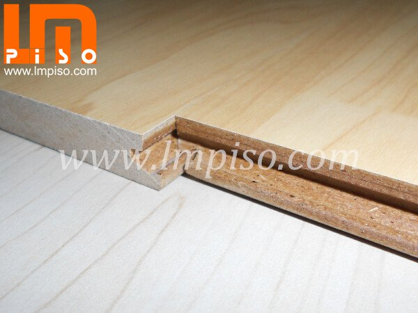 Maple wood color suqared edges single click waterproof laminate flooring